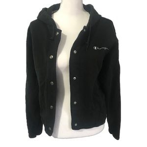 Champion Bomber Jacket Hoodie Classic Logo Black